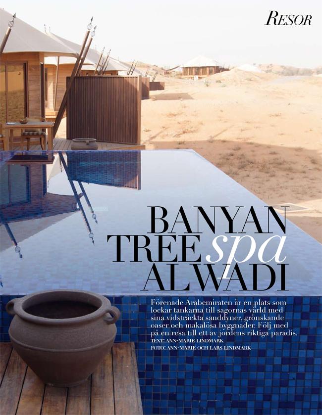 Banyan Tree Spa Al Wadi - artikel i Lifestyle Woman. Ann-Marie och Lars Lindmark